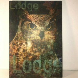 """Other - Lodge Wood Wall Decor Owl 11"""" x 16"""" Hunting"""